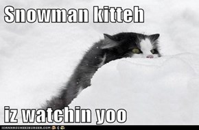 Snowman kitteh  iz watchin yoo