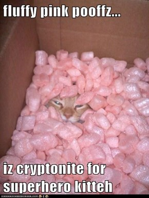 fluffy pink pooffz...  iz cryptonite for superhero kitteh