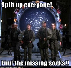 Split up everyone!  Find the missing socks!!