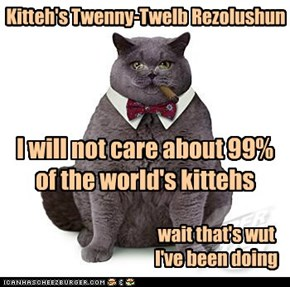 Kitteh's Twenny-Twelb Rezolushun . . . wait that's wut I've been doing