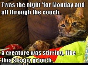 Twas the night 'for Monday and all through the couch..   a creature was stirring, like this sleepy grouch.