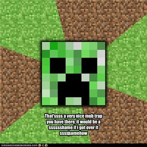 That'ssss a very nice mob trap you have there, it would be a sssssshame if i got over it sssssomehow