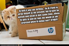 Ai hird it wuz yur birfday... So Ai tryed to wrap myself az yur prezent, but Ai kant be outsyd and insyd at deh same time...iffens Ai gets in and yu raps me would yu akt sirprized when Ai jumpz out?  KTHX!!!
