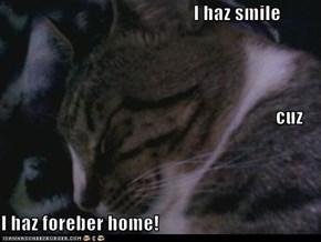 I haz smile cuz I haz foreber home!