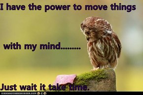 I have the power to move things  with my mind......... Just wait it take time.