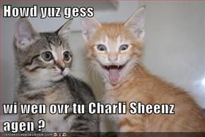 Howd yuz gess  wi wen ovr tu Charli Sheenz agen ?