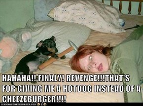 HAHAHA!! FINALY! REVENGE!!!THAT'S FOR GIVING ME A HOTDOG INSTEAD OF A CHEEZEBURGER!!!!