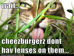 wait...   cheezburgerz dont hav lenses on them...