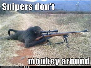 Snipers don't  monkey around