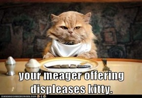 your meager offering displeases kitty.