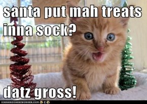 santa put mah treats inna sock?  datz gross!