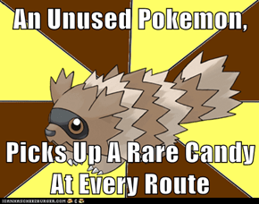 An Unused Pokemon,  Picks Up A Rare Candy At Every Route