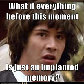What if everything before this moment  Is just an implanted memory?