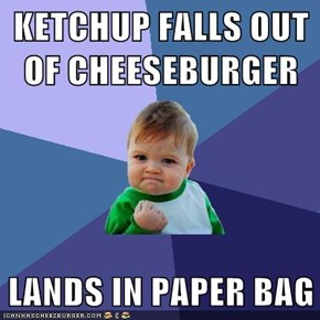 KETCHUP FALLS OUT OF CHEESEBURGER  LANDS IN PAPER BAG