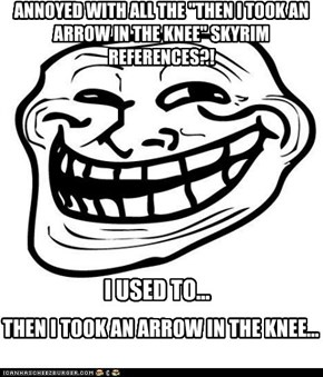 "ANNOYED WITH ALL THE ""THEN I TOOK AN ARROW IN THE KNEE"" SKYRIM REFERENCES?!"