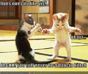 Noes noes itz like zis! okayz... ARGHH! you will never be a dancin kitteh