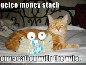 geico money stack  on vacation with the wife.