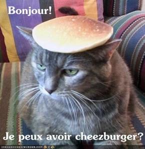 Bonjour!     Je peux avoir cheezburger?