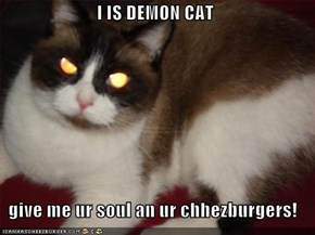 I IS DEMON CAT   give me ur soul an ur chhezburgers!