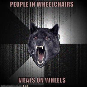 PEOPLE IN WHEELCHAIRS  MEALS ON WHEELS