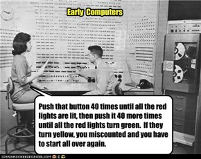 Push that button 40 times until all the red lights are lit, then push it 40 more times until all the red lights turn green.  If they turn yellow, you miscounted and you have to start all over again.
