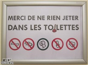 French Toilet Sign WIN