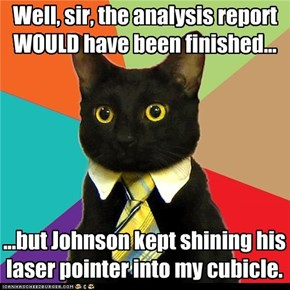 Well, sir, the analysis report WOULD have been finished...