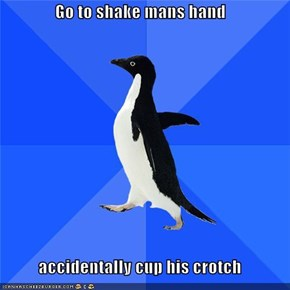 Go to shake mans hand  accidentally cup his crotch