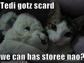 Tedi gotz scard  we can has storee nao?