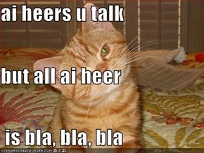 ai heers u talk but all ai heer  is bla, bla, bla