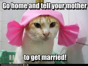 Go home and tell your mother       to get married!