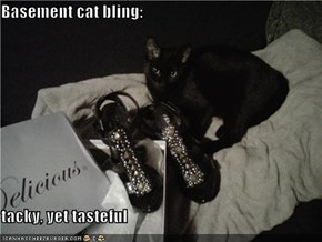 Basement cat bling:  tacky, yet tasteful
