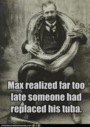 Max realized far too late someone had replaced his tuba.