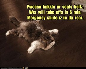 Pwease  bukkle  ur  seats  beltz. Wez  will  take  offs  in  5  min. Mergency  shute  iz  in  da  rear.