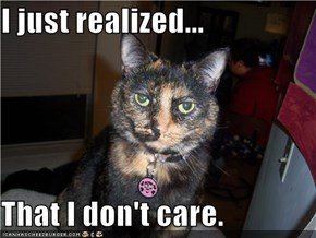 I just realized...  That I don't care.