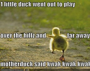 1 little duck went out to play over the hillz and                 far away   motherduck said kwak kwak kwak...