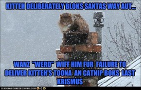 KITTEH DELIBERATELY BLOKS SANTAS WAY AUT...