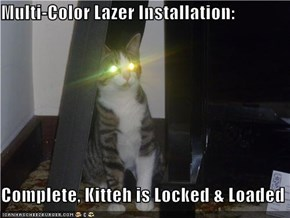 Multi-Color Lazer Installation:  Complete, Kitteh is Locked & Loaded