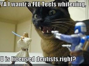 YA I wantz a FEE Teefs whitening,  U is licensed dentists,right?