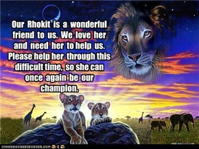 Our  Rhokit  is  a  wonderful friend  to  us.  We  love  her and  need  her  to help  us.  Please help her  through this difficult time,  so she can once  again  be  our champion.