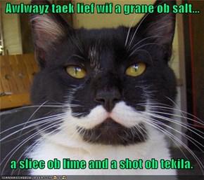 Awlwayz taek lief wif a grane ob salt...      a sliec ob lime and a shot ob tekila.