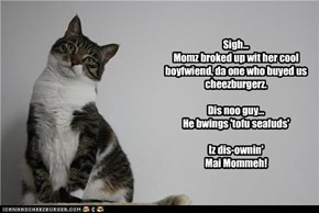 Sigh... Momz broked up wit her cool boyfwiend, da one who buyed us cheezburgerz.  Dis noo guy... He bwings 'tofu seafuds'  Iz dis-ownin' Mai Mommeh!