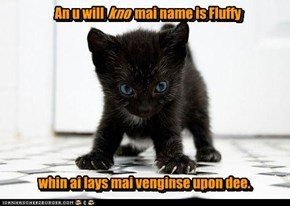 an u will kno mai name is Fluffy whin ai lays mai venginse upon dee.