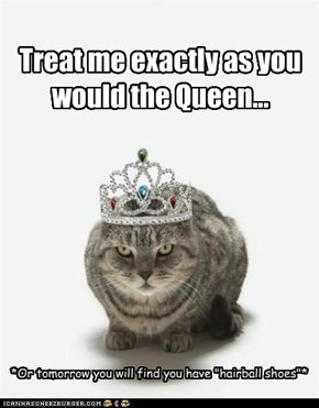 Treat me exactly as you would the Queen...