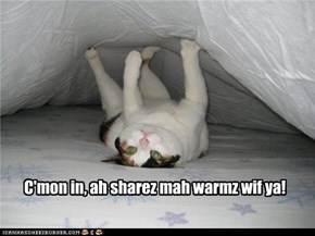 C'mon in, ah sharez mah warmz wif ya!