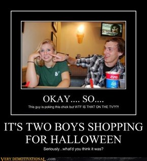 IT'S TWO BOYS SHOPPING FOR HALLOWEEN