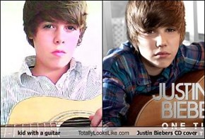 kid with a guitar Totally Looks Like Justin Biebers CD cover
