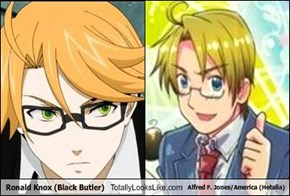 Ronald Knox (Black Butler) Totally Looks Like Alfred F. Jones/America (Hetalia)