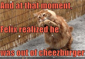 And at that moment, Felix realized he was out of cheezburger.