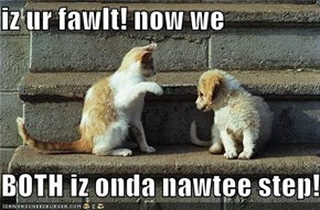 iz ur fawlt! now we  BOTH iz onda nawtee step!